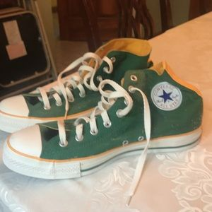 Brand new , with tag green/gold converse high tops